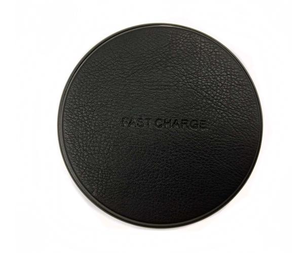 皮革无线充电器金属底壳皮革面板无线充