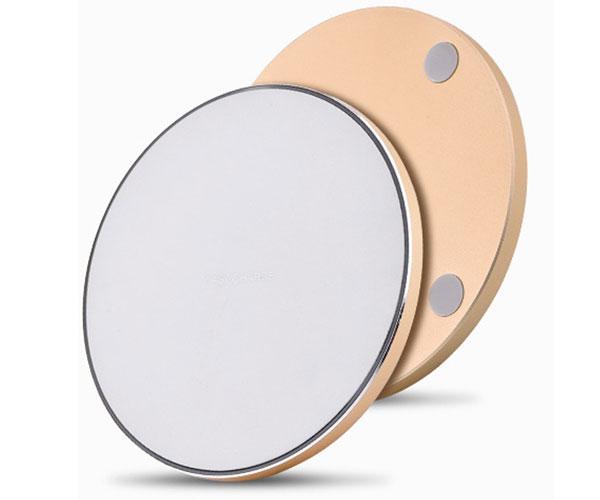 圆形玻璃镜面无线充电器钢化玻璃面板金属底壳无线充
