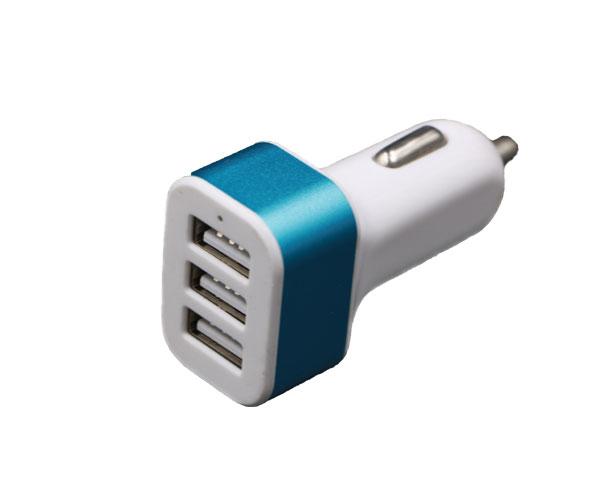 三口车充三USB接口车载充电器蓝色铝合金框架车充