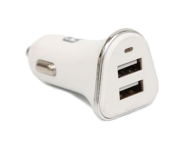 白色车载充电器一拖二点烟器插头双USB接口车载充电器