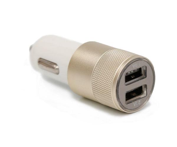 双口滚花车载充电器铝合金滚花框架双USB接口车载充电器