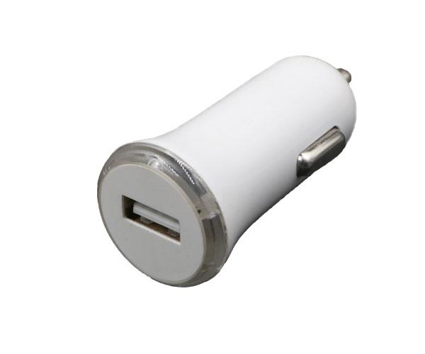 白色单口车载充电器单USB接口车载充电器