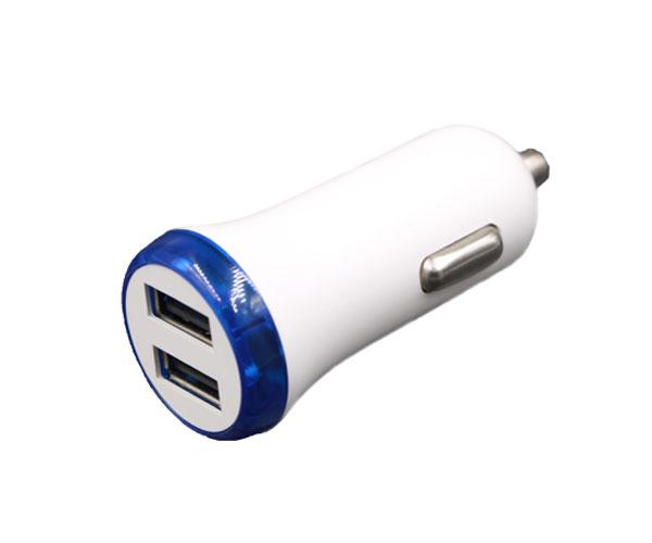白色双口车载充电器双USB接口车载充电器
