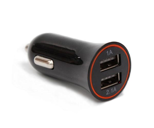 黑色双口车载充电器一拖二双USB接口车载