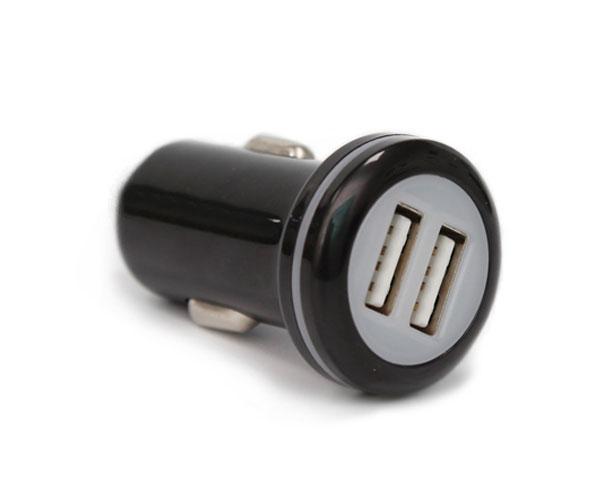 圆头黑色双口车载充电器一拖二双USB接口车载充电器