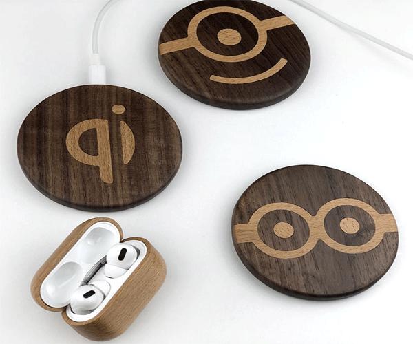 可定制logo图案的黑胡桃木制手机无线充